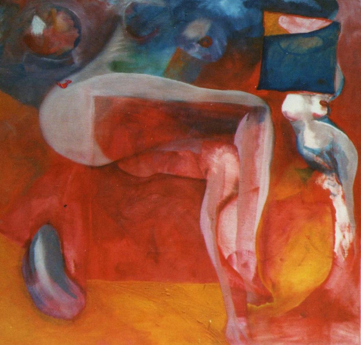 Pintura de nu reclinado no sofa vermelho